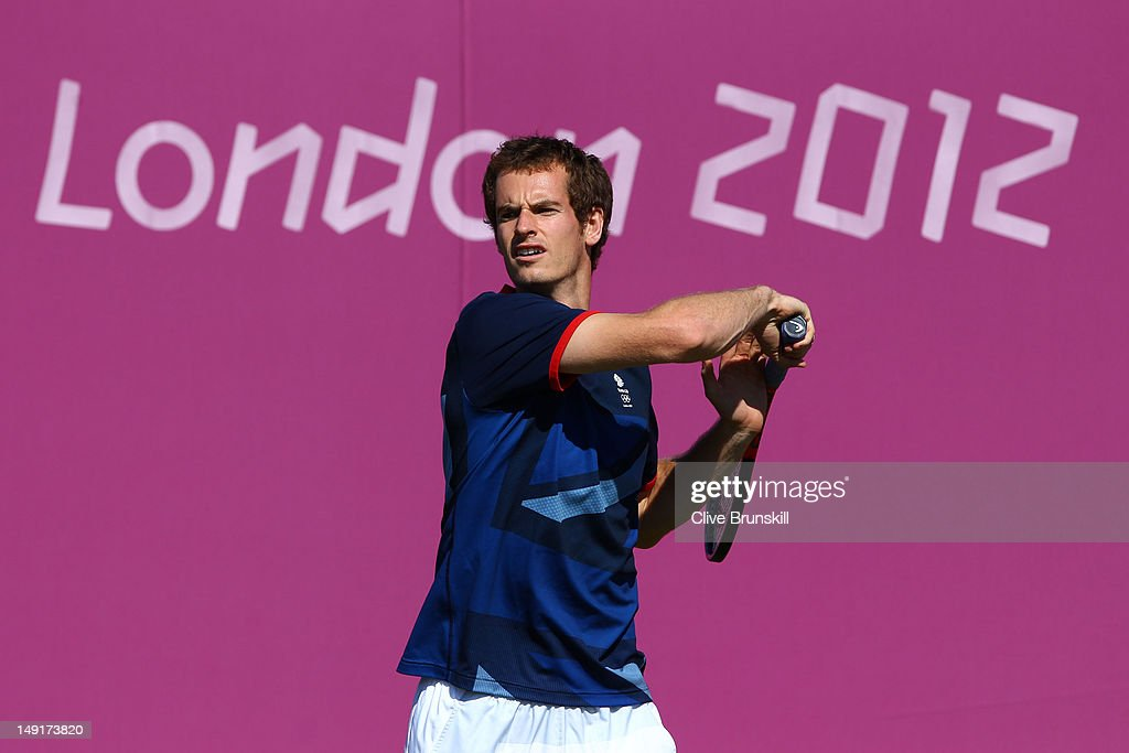 Andy Murray of Great Britain in action during a practice session ahead of the 2012 London Olympic Games at the All England Lawn Tennis and Croquet Club in Wimbledon on July 24, 2012 in London, England.