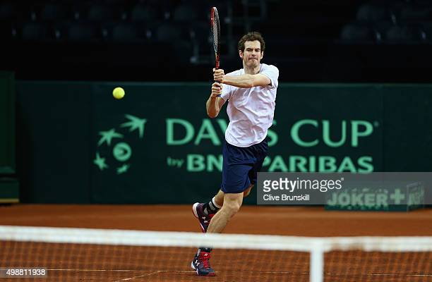 Andy Murray of Great Britain in action during a practice session ahead of the start of the Davis Cup Final at Flanders Expo on November 26 2015 in...