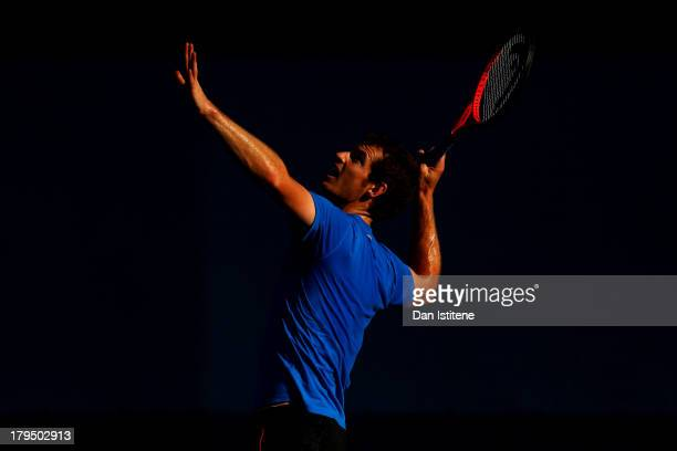 Andy Murray of Great Britain in action during a practice session on Day Ten of the 2013 US Open at USTA Billie Jean King National Tennis Center on...