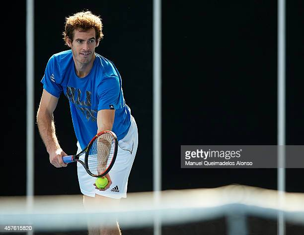 Andy Murray of Great Britain in action during a practice session on Day Two of the ATP 500 World Tour Valencia Open tennis tournament at the Ciudad...