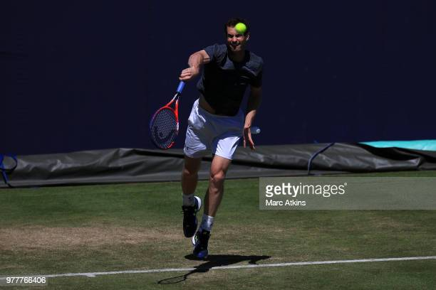 Andy Murray of Great Britain in action during a practice session on Day 1 of the FeverTree Championships at Queens Club on June 18 2018 in London...