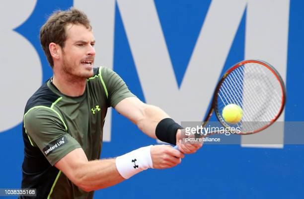 Andy Murray of Great Britain in action during a quarter finals match against Rosol of the Czech Republic at the ATP Tennis Tournament in...