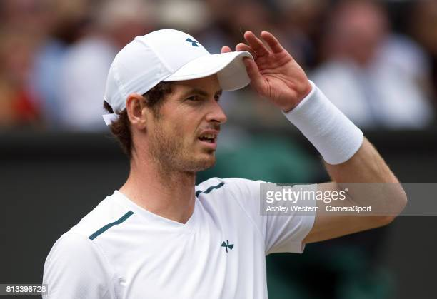 Andy Murray of Great Britain in action during his defeat by Sam Querrey of United States in their Men's Singles Quarter Final Match at Wimbledon on...