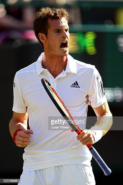 Andy Murray of Great Britain in action during his first round match against Jan Hajek of Czech Republic on Day Day of the Wimbledon Lawn Tennis...