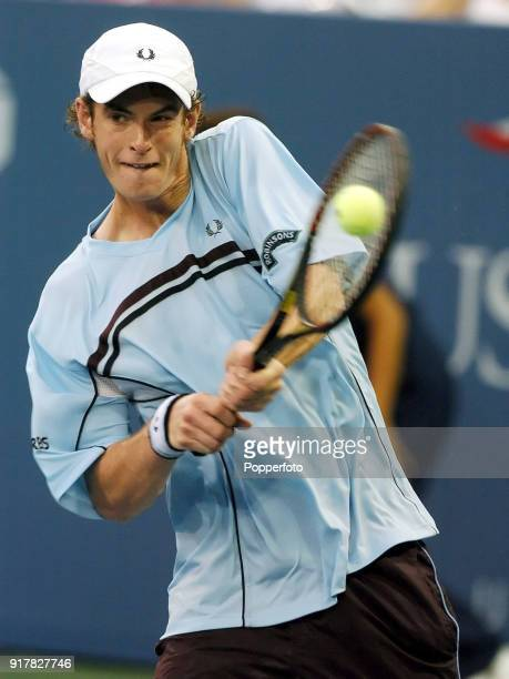 Andy Murray of Great Britain in action during his first round match against Andrei Pavel of Romania at the US Open at the USTA National Tennis Center...