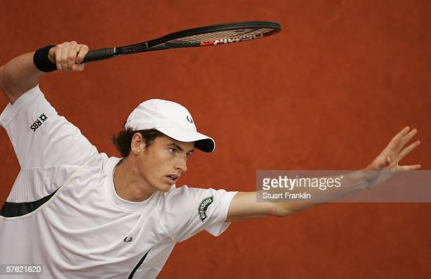 Andy Murray of Great Britain in action during his match against Gael Monfils of France during day two of the Tennis Masters Series Hamburg at...