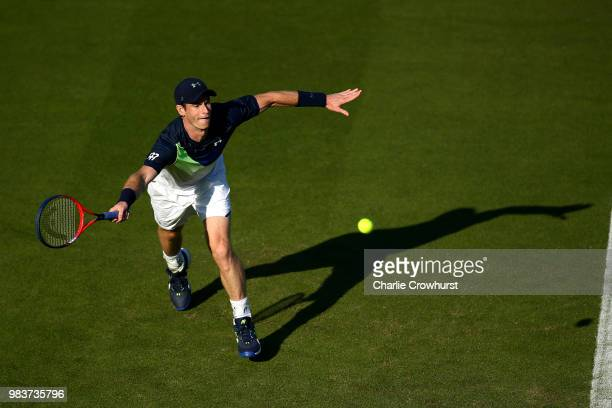Anastasia Pavlyuchenkova of Russia in action against Karolina Pliskova of the Czech Republic during her first round match on day four of the Nature...