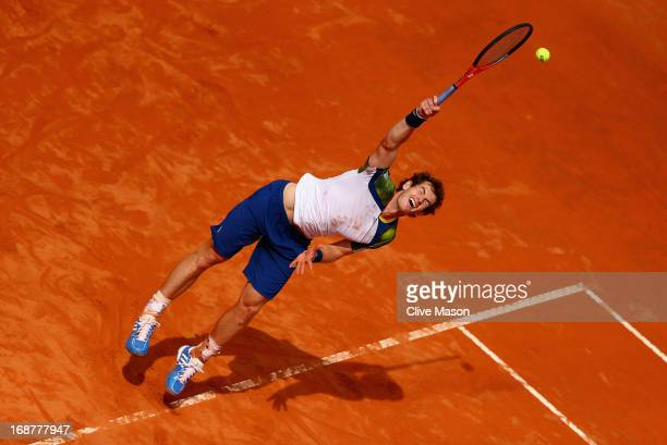 Andy Murray of Great Britain in action during his second round match against Marcel Granollers of Spain on day four of the Internazionali BNL...