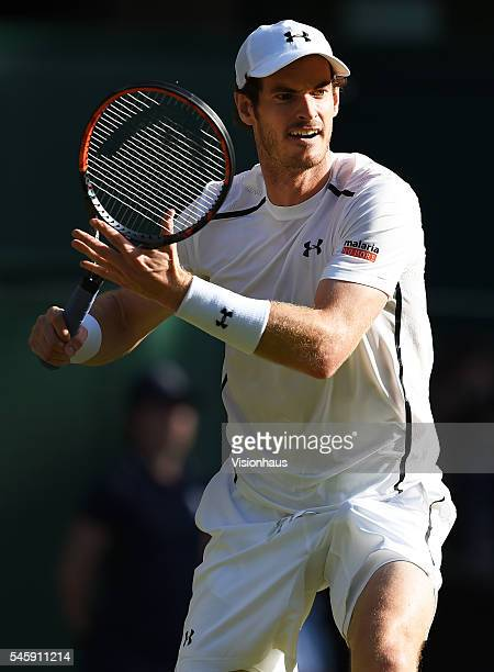 Andy Murray of Great Britain in action during his semi final match against Tomas Berdych of Czech Republic at Wimbledon on July 8 2016 in London...