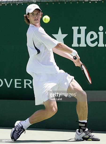 Andy Murray of Great Britain in action during his singles match loss to Mario Ancic of Croatia on day three of the Heineken Open on January 11, 2006...