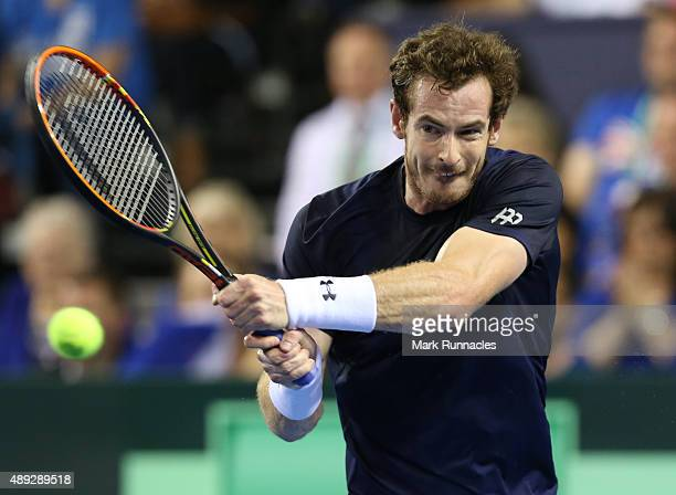 Andy Murray of Great Britain in action during his singles match against Bernard Tomic of Australia on the third day of the Davis Cup Semi Final 2015...