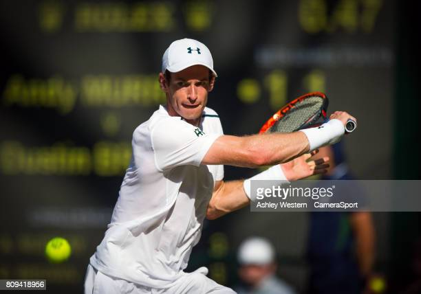 Andy Murray of Great Britain in action during his victory over Dustin Brown of Germany in their Men's Singles Second Round Match at Wimbledon on July...