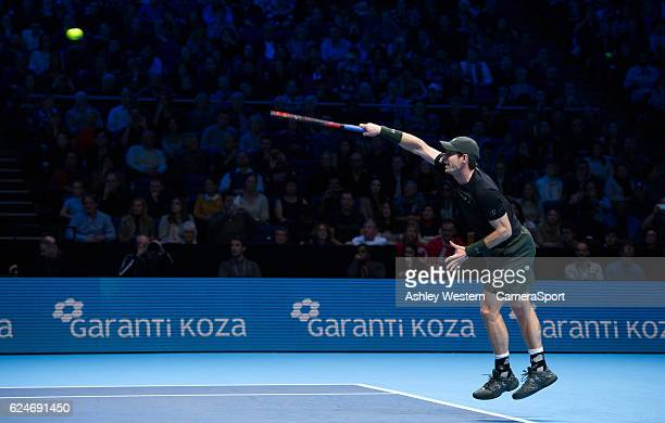 Andy Murray of Great Britain in action during his victory over Novak Djokovic of Serbia in their mens singles Final match on day eight of the ATP...