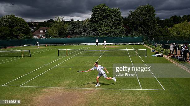 Andy Murray of Great Britain in action in a practice session during previews for Wimbledon Championships at Wimbledon on June 23 2013 in London...