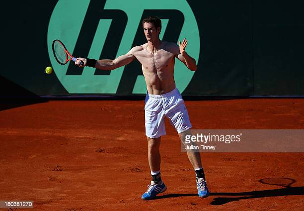 Andy Murray of Great Britain in action in a practice session during previews ahead of the Davis Cup World Group playoff tie between Croatia and Great...