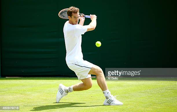 Andy Murray of Great Britain in action in a practice session during previews for Wimbledon Championships at Wimbledon on June 21 2014 in London...