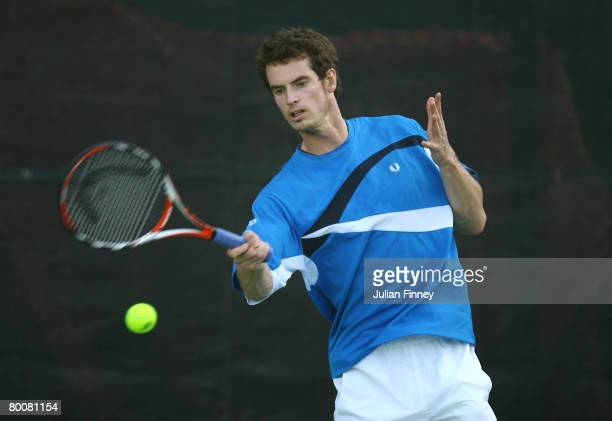 Andy Murray of Great Britain in action in a training session during previews for the ATP Barclays Dubai Tennis Championships at the Dubai Tennis...