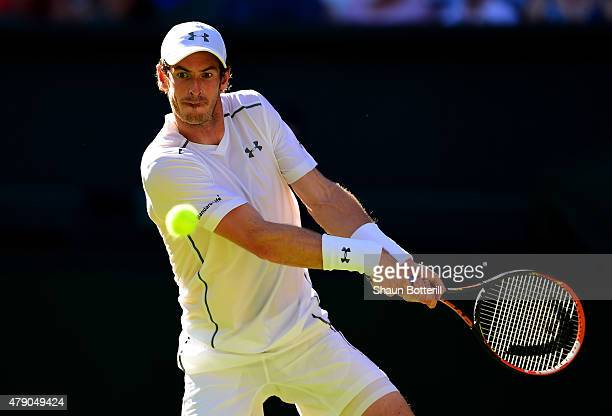 Andy Murray of Great Britain in action in his Gentlemen's Singles first round match against Mikhail Kukushkin of Kazakhstan during day two of the...