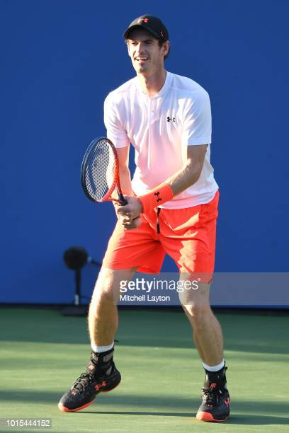 Andy Murray of Great Britain in position for a shot from Kyle Edmund of Great Britain during Day Six of the Citi Open at the Rock Creek Tennis Center...