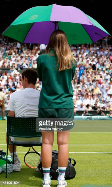 Andy Murray of Great Britain is seen during his Gentlemen's Singles first round match against David Goffin of Belgium on day one of the Wimbledon...