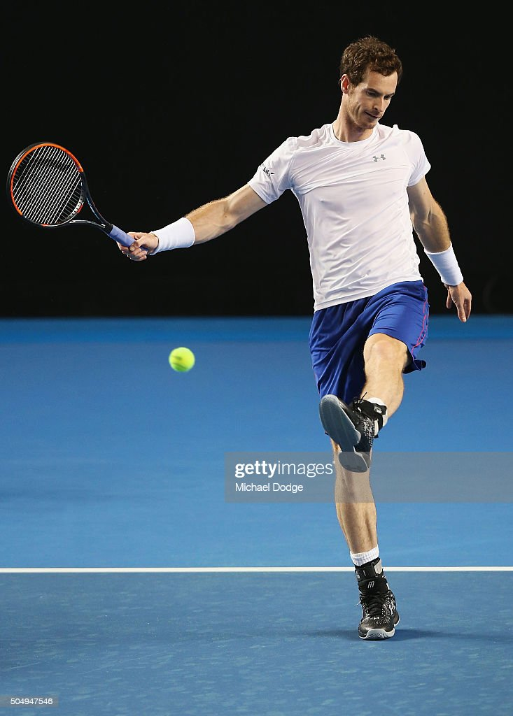 Andy Murray of Great Britain kicks the ball during a practice session ahead of the 2016 Australian Open at Melbourne Park on January 14, 2016 in Melbourne, Australia.