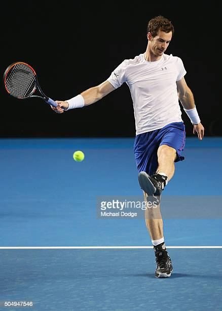 Andy Murray of Great Britain kicks the ball during a practice session ahead of the 2016 Australian Open at Melbourne Park on January 14 2016 in...