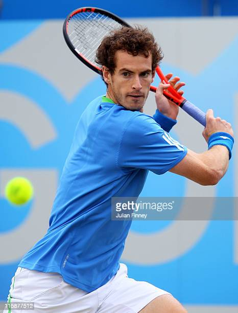Andy Murray of Great Britain lines up a shot during his Men's Singles semi final match against Andy Roddick of the United States on day six of the...