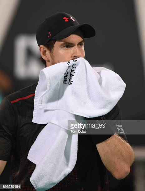 Andy Murray of Great Britain looks on during his exhibition match against Roberto Bautista Agut of Spain on day two of the Mubadala World Tennis...