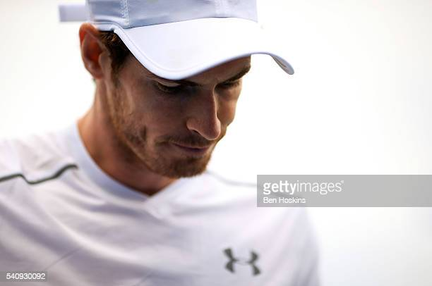 Andy Murray of Great Britain looks on during his quarter final match against Kyle Edmund of Great Britain on day five of The Aegon Championships at...