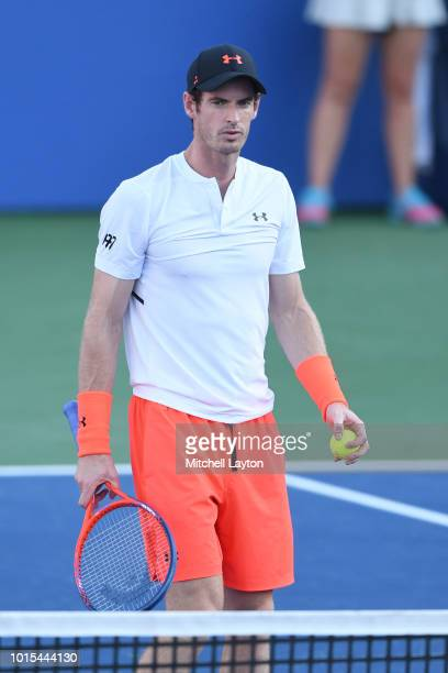 Andy Murray of Great Britain looks on during match against Kyle Edmund of Great Britain during Day Six of the Citi Open at the Rock Creek Tennis...