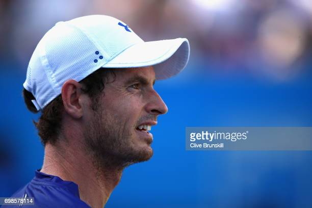 Andy Murray of Great Britain looks on during the mens singles first round match against Jordan Thompson of Australia on day two of the 2017 Aegon...