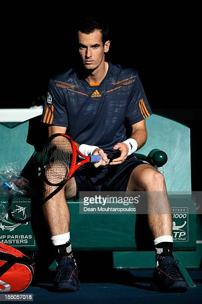 Andy Murray of Great Britain looks on prior to his match against PaulHenri Mathieu of France during day 3 of the BNP Paribas Masters at Palais...
