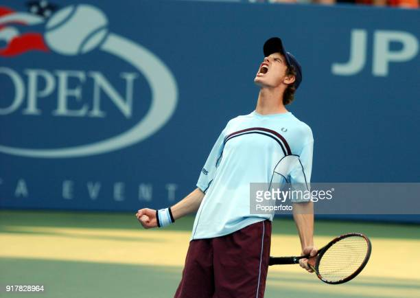 Andy Murray of Great Britain loses his second round match in five sets to Arnaud Clement of France during the US Open at the USTA National Tennis...
