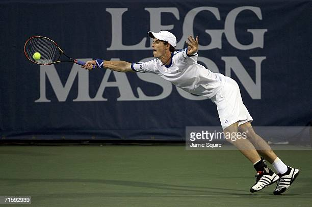 Andy Murray of Great Britain lunges for a ball during his semifinal match against Dmitry Tursunov of Russia on day 6 of the Legg Mason Tennis Classic...