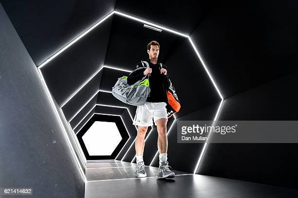 Andy Murray of Great Britain makes his way onto court for the Mens Singles Final against John Isner of the United States on day seven of the BNP...