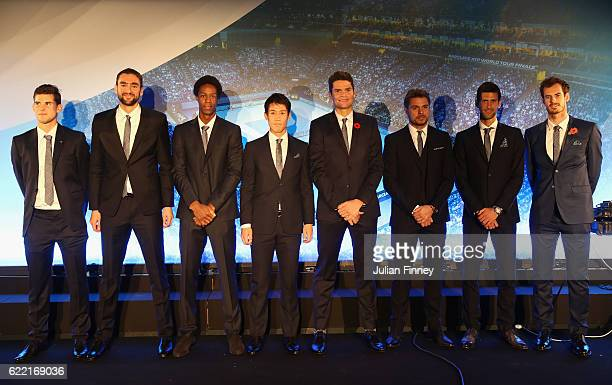 Andy Murray of Great Britain Novak Djokovic of Serbia Stan Wawrinka of Switzerland Milos Raonic of Canada Kei Nishikori of Japan Gael Monfils of...