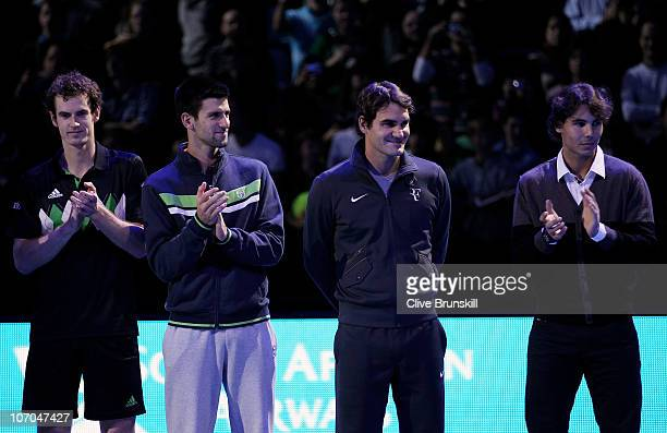 Andy Murray of Great Britain Novak Djokovic of Siberia Roger Federer of Switzerland and Rafael Nadal of Spain attend a ceremony for Carlos Moya's...