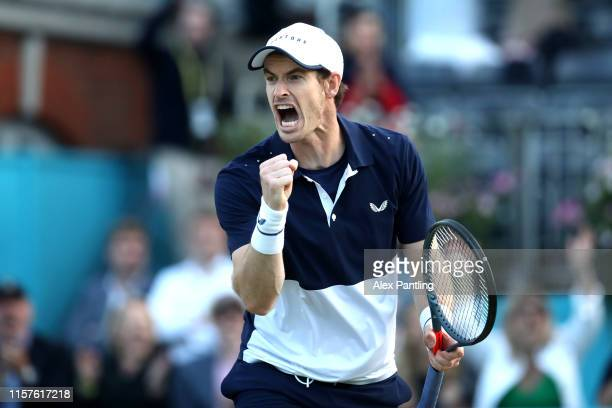 Andy Murray of Great Britain partner of Feliciano Lopez of Spain celebrates a point during the mens doubles semi-final match against Henri Kontinen...