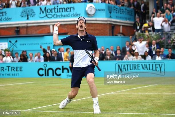 Andy Murray of Great Britain partner of Feliciano Lopez of Spain celebrates match point in the mens doubles final against Rajeev Ram of The United...