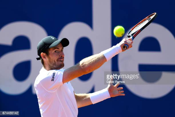 Andy Murray of Great Britain plays a backhand against Albert RamosVinolas of Spain on day five of the Barcelona Open Banc Sabadell in the...