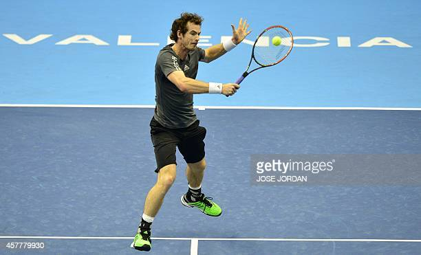 Andy Murray of Great Britain plays a backhand against Kevin Anderson of South African Republic during their quarterfinal match at the ATP Valencia...