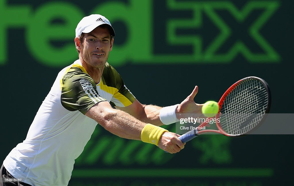 Andy Murray of Great Britain plays a backhand against Marin Cilic of Croatia during their quarter final match at the Sony Open at Crandon Park Tennis Center on March 28, 2013 in Key Biscayne, Florida.