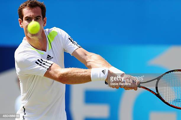 Andy Murray of Great Britain plays a backhand against Radek Stepanek of the Czech Republic during their Men's Singles match on day four of the Aegon...