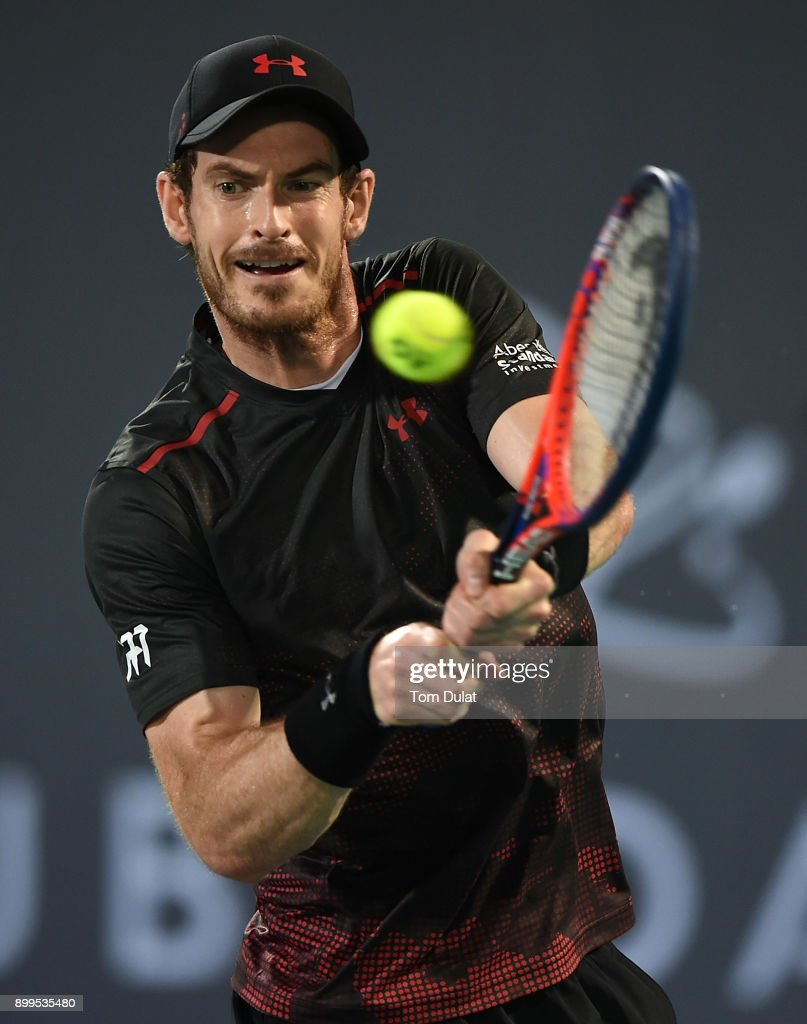 Andy Murray of Great Britain plays a backhand during his exhibition match against Roberto Bautista Agut of Spain on day two of the Mubadala World Tennis Championship at International Tennis Centre Zayed Sports City on December 29, 2017 in Abu Dhabi, United Arab Emirates.