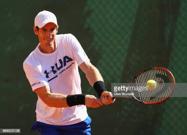 Andy Murray of Great Britain plays a backhand during his practice session on day two of the Monte Carlo Rolex Masters at Monte-Carlo Sporting Club on...
