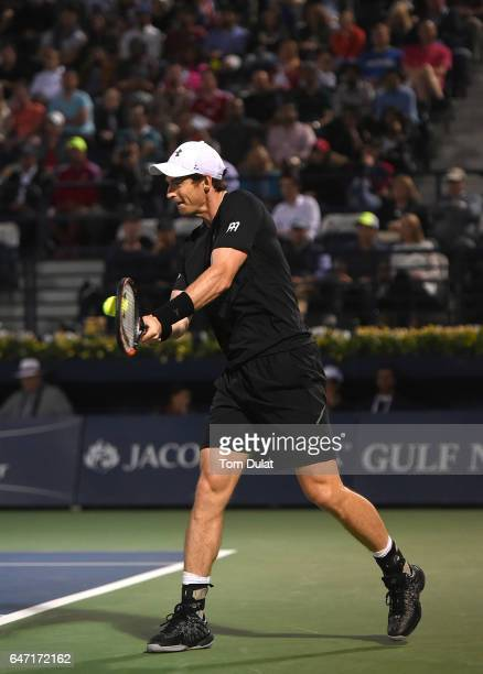 Andy Murray of Great Britain plays a backhand during his quarter final match against Philipp Kohlschreiber of Germany on day five of the ATP Dubai...