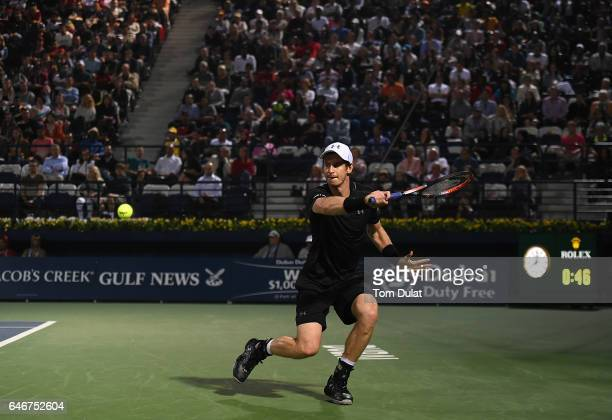 Andy Murray of Great Britain plays a backhand during his second round match against Guillermo GarciaLopez of Spain on day four of the ATP Dubai Duty...