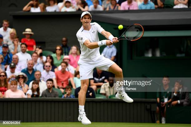 Andy Murray of Great Britain plays a backhand during the Gentlemen's Singles first round match against Alexander Bublik of Kazakhstan on day one of...