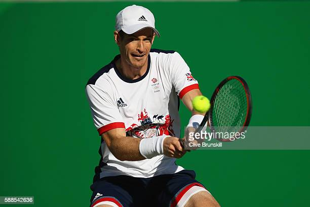 Andy Murray of Great Britain plays a backhand during the men's singles third round match against Fabio Fognini of Italy on Day 6 of the 2016 Rio...