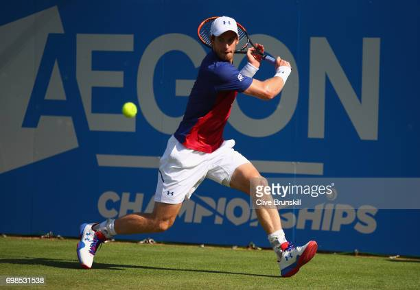 Andy Murray of Great Britain plays a backhand during the mens singles first round match against Jordan Thompson of Australia on day two of the 2017...